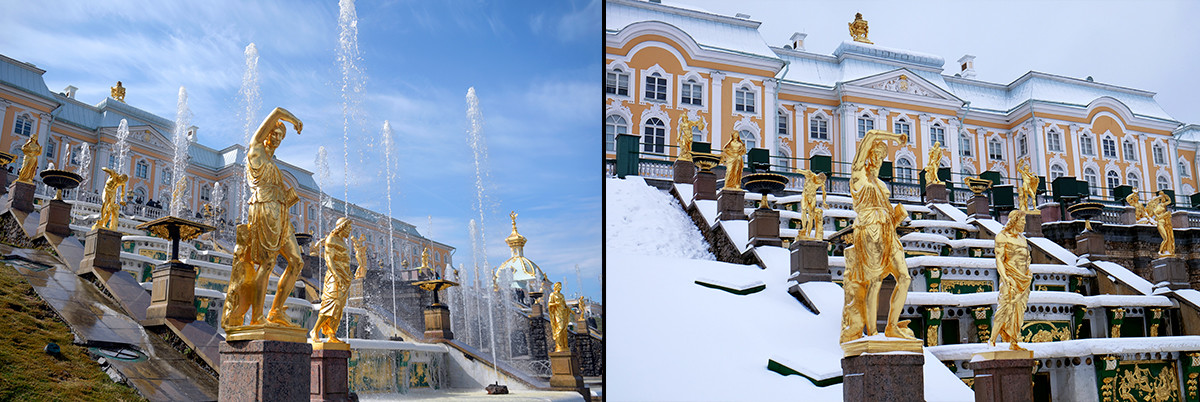 Peterhof in spring and winter.