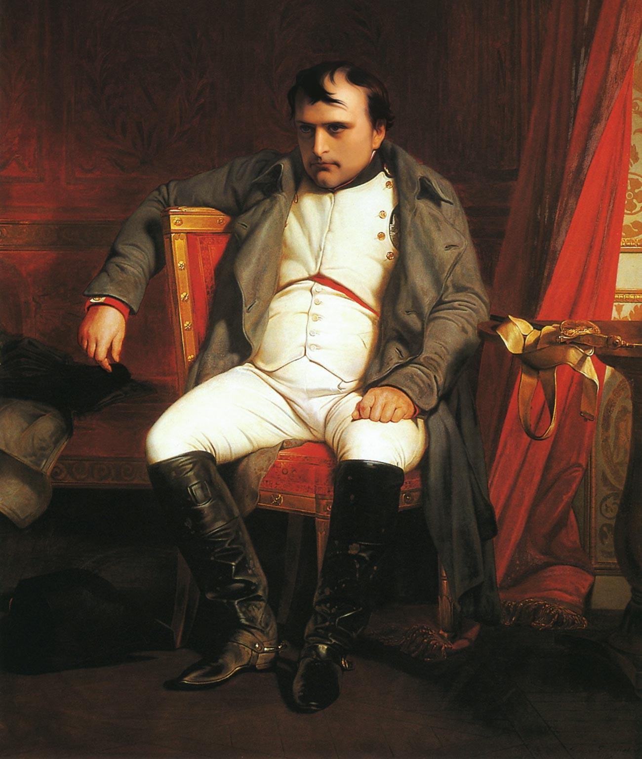 Поль Деларош. Наполеон в Фонтенбло после отречения (фрагмент).
