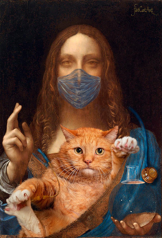 Leonardo da Vinci, 'Savior of the World with his cat'