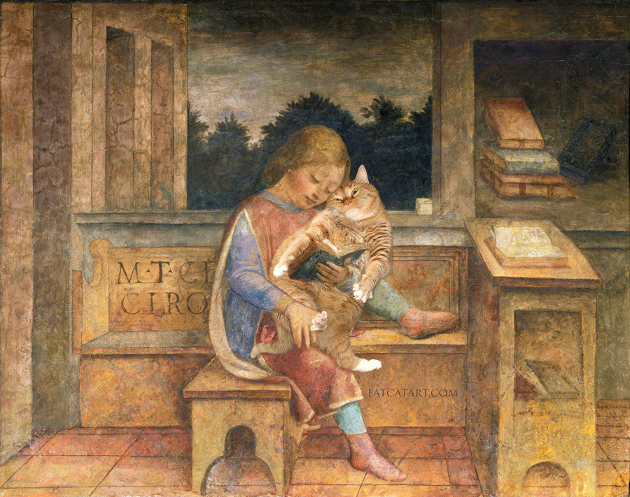 Vincenzo Foppa, 'Young Cicero reading to his cat'