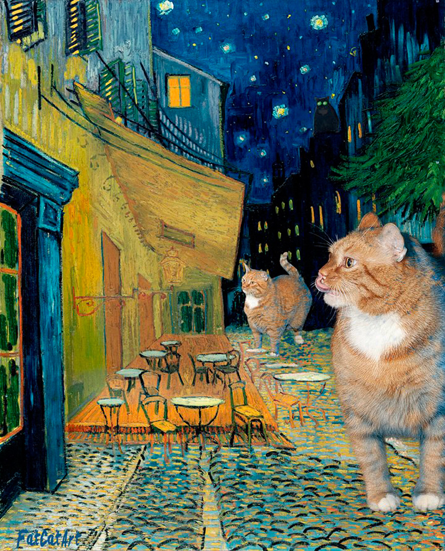 Vincent van Gogh, 'Terrace of a café at night during quarantine visited by giant cats'