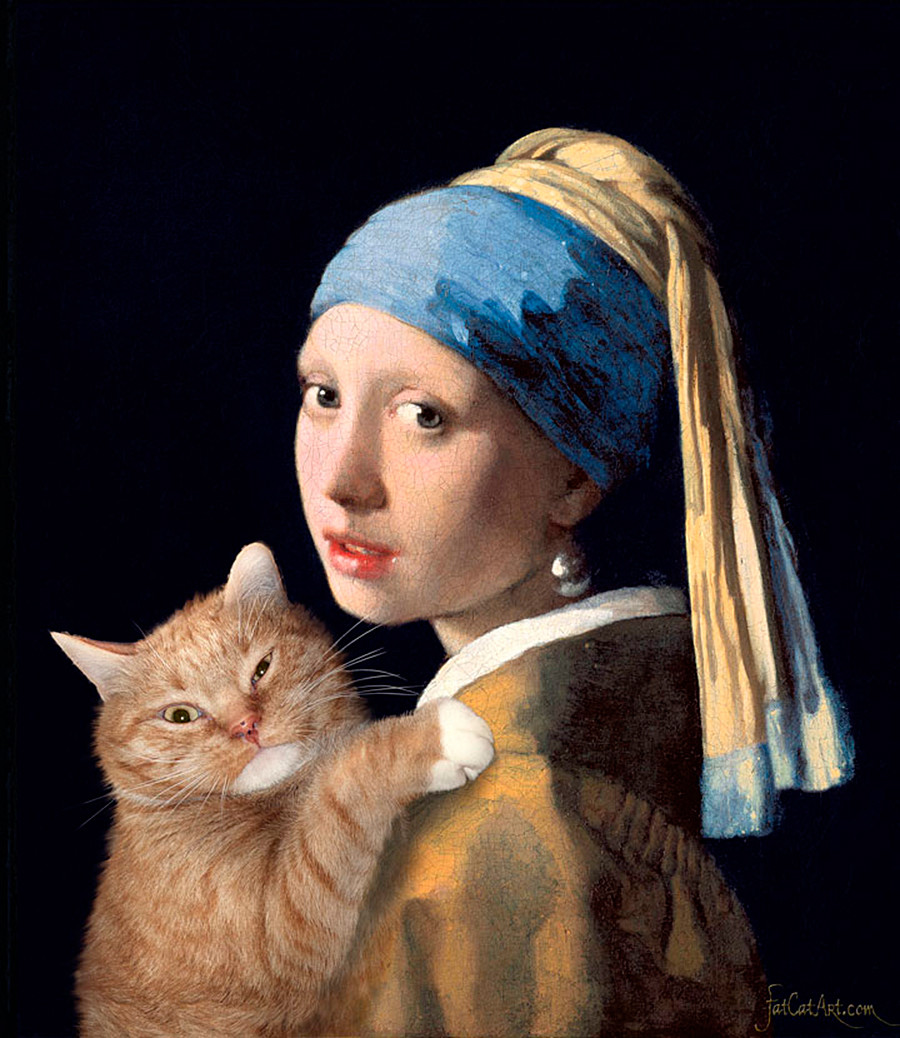 Johannes Vermeer, 'Girl with a Pearl Earring and a Ginger Cat'