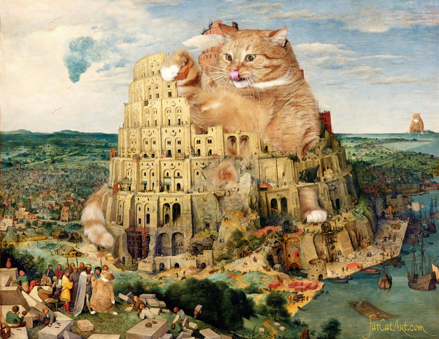Pieter Bruegel the Elder, 'The Tower of Babel under cats construction'