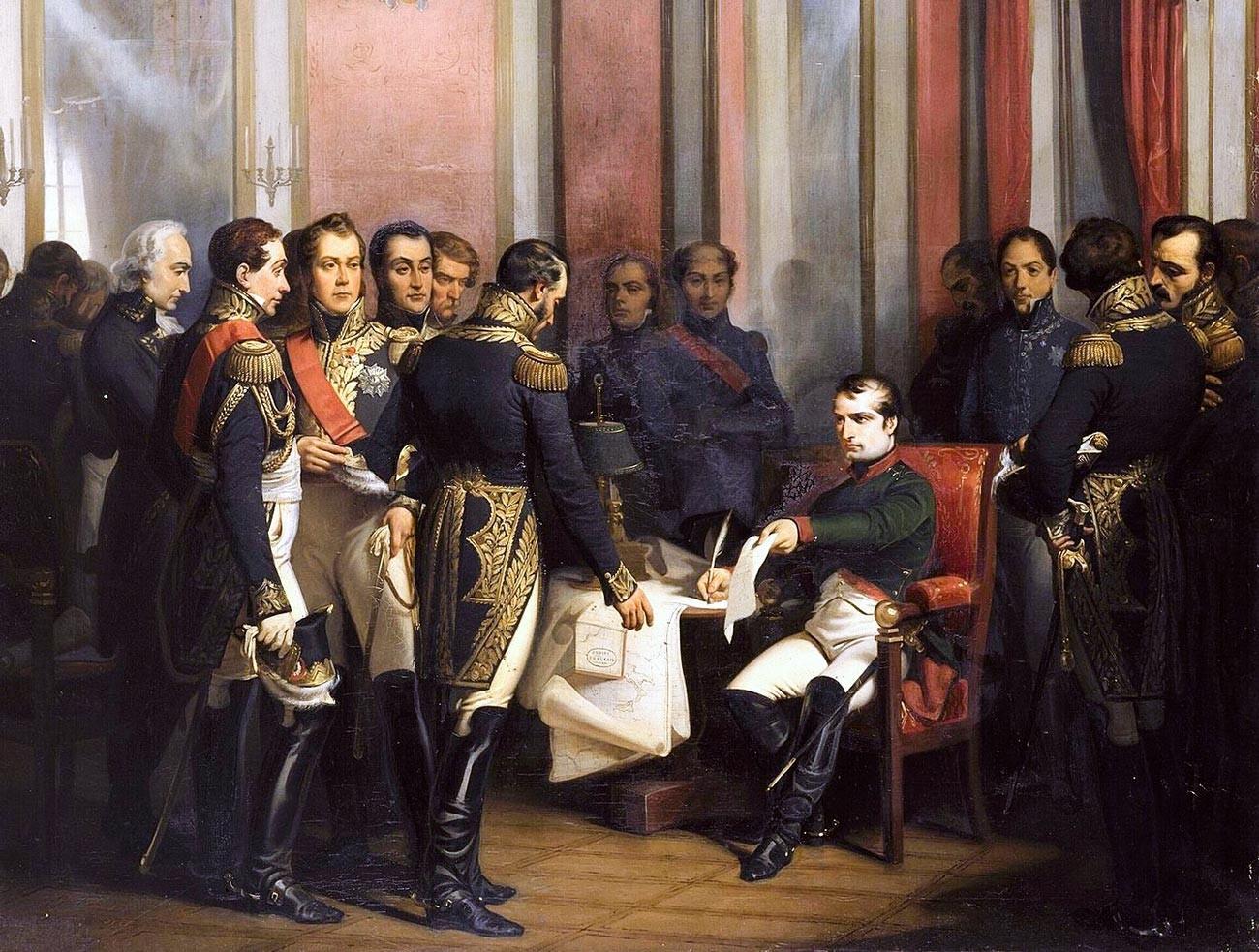 Наполеон потписује абдикацију.