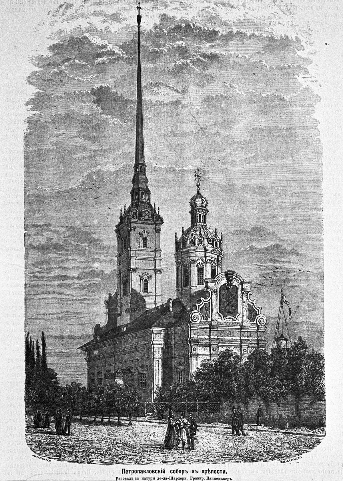 La Cattedrale di Pietro e Paolo, nella fortezza di Pietro e Paolo, necropoli degli imperatori russi. Incisione del XIX secolo