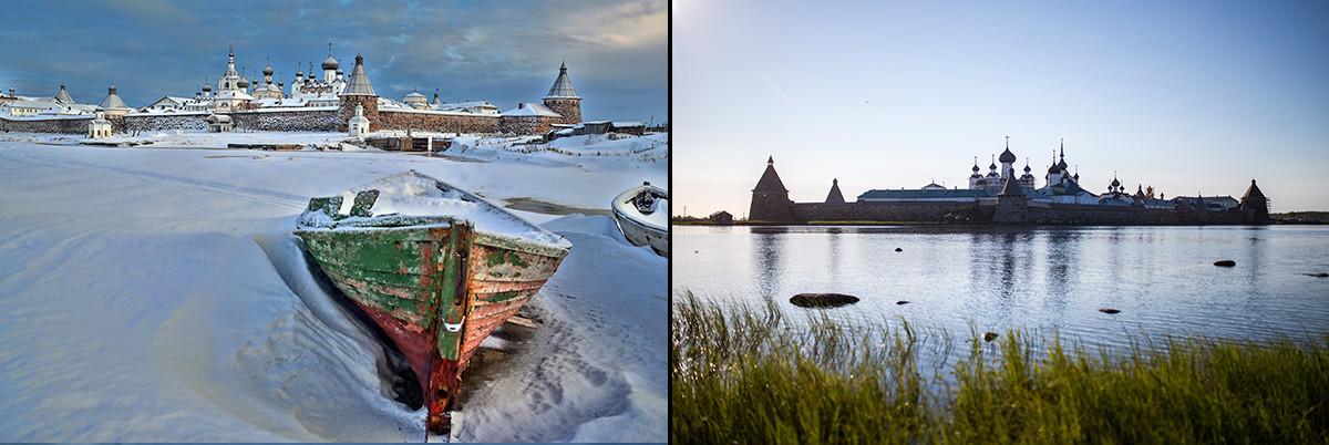 Solovki no inverno e no verão