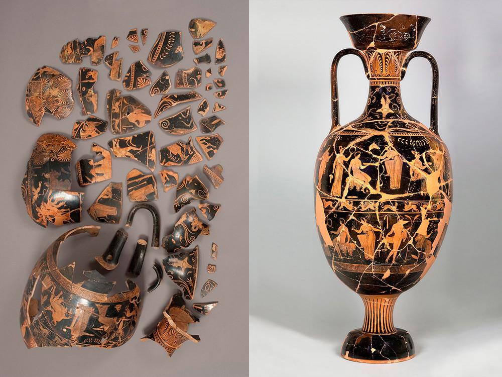 Maître Daria, amphore en céramique à figures rouges représentant la mort d'Actéon / Pouilles, vers 320 avant JC
