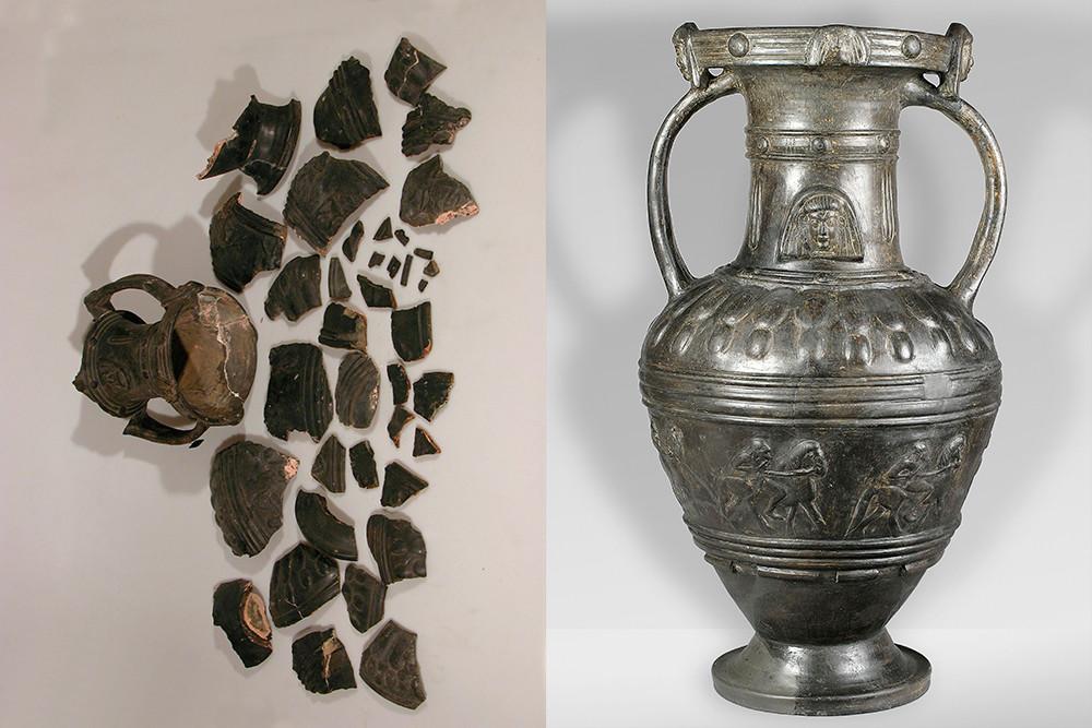 Amphore de bucchero avec représentation de procession de cavaliers et protomés d'une déesse / Étrurie, VIe siècle avant JC