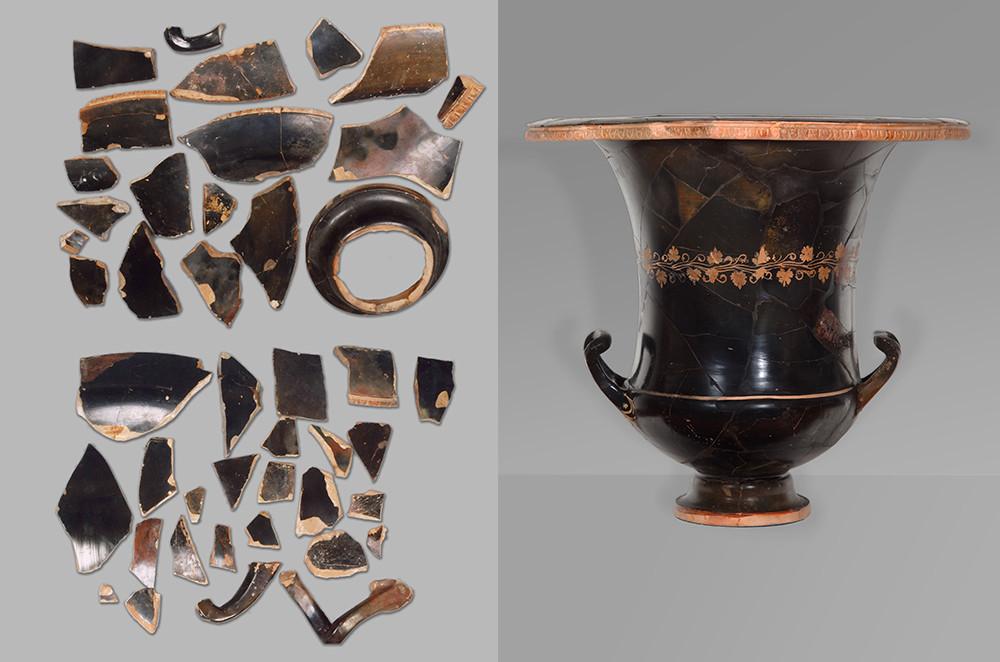 Cratère en céramique noire laquée et richement décoré / Péninsule de l'Attique (Grèce), début du IIIe siècle avant JC