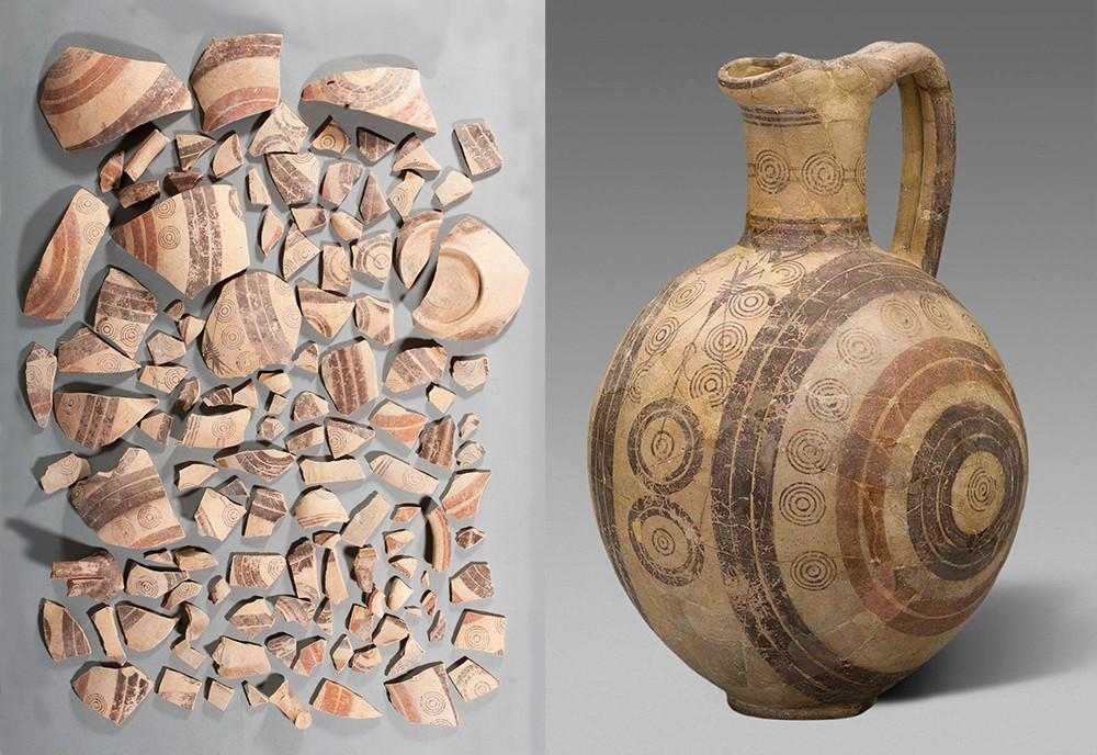 Grande œnochoé (pichet à vin grec) avec décor sur quatre côtés / Chypre, VIIe siècle avant JC