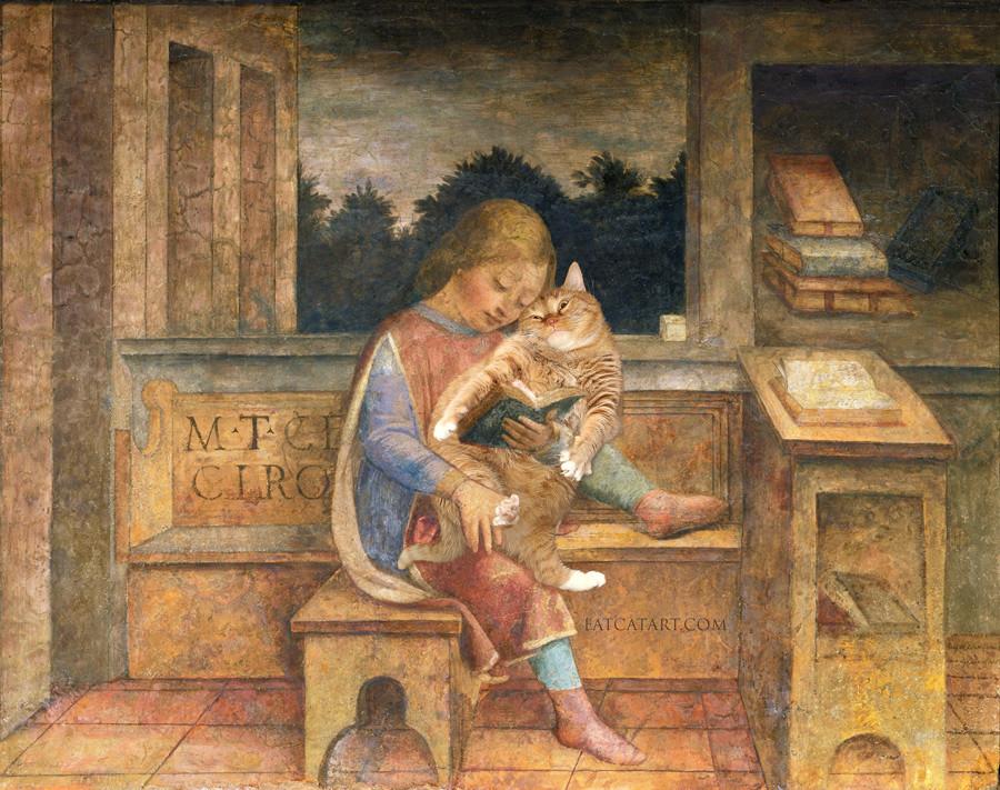 ヴィンチェンツォ・フォッパ、 「ネコに読み聞かせをする若いシセロ」