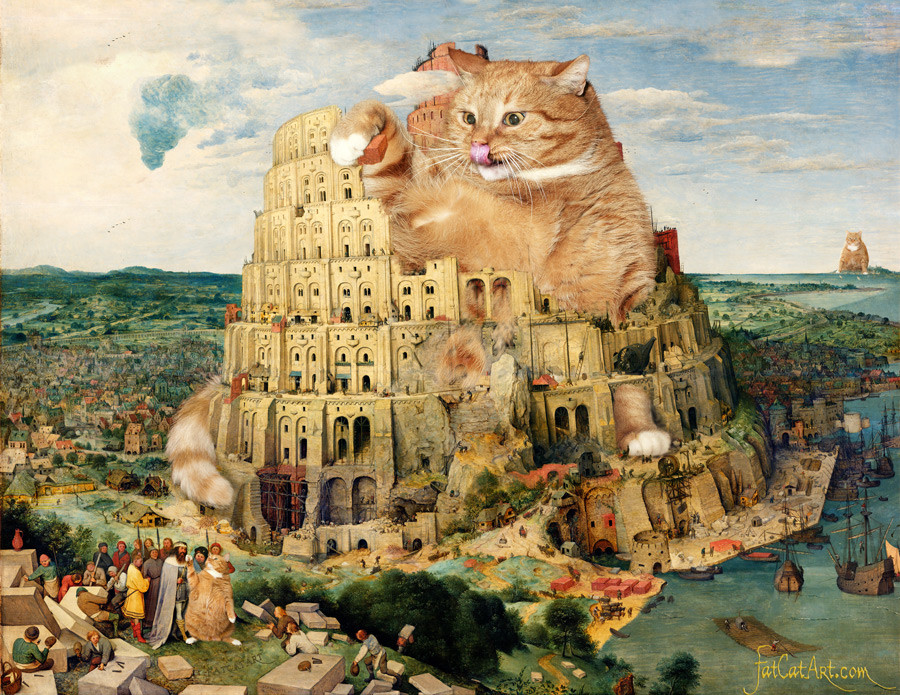 ブリューゲル、「ネコが建設中のバベルの塔」