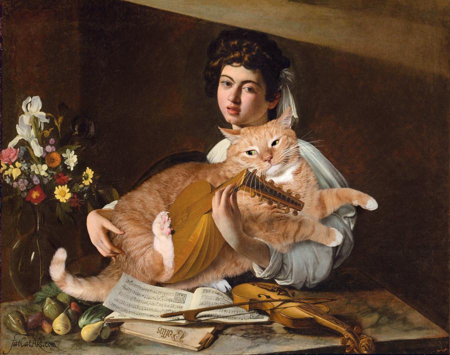 カラバッジョ、「リュート弾きとネコ」