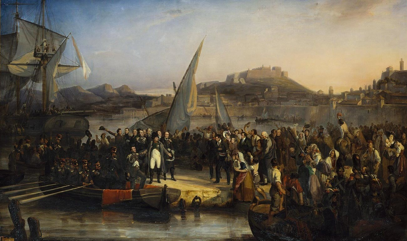 Joseph Beaume. Napoleon leaving Elba.