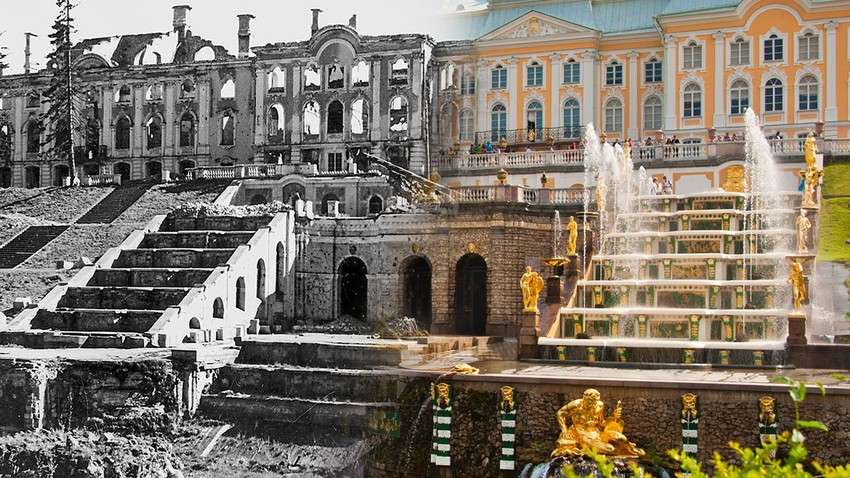 Peterhof pada 1944 dan sekarang.