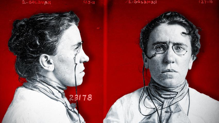 Fotorobot iz leta 1901. Fotografija Emme Goldman po aretaciji za sodelovanje pri atentatu na Williama McKinleyja.