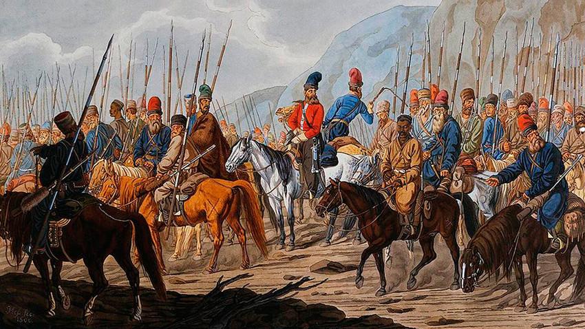 Lukisan pasukan Cossack di Pegunungan Ural karya pelukis tak dikenal.