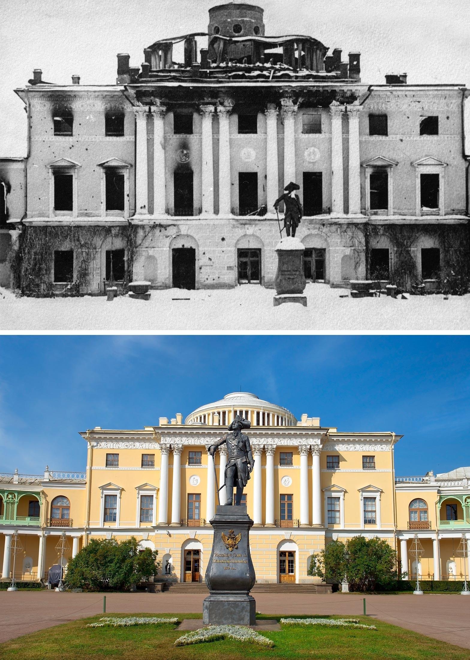 Palácio Pavlovsk em 1944 e agora