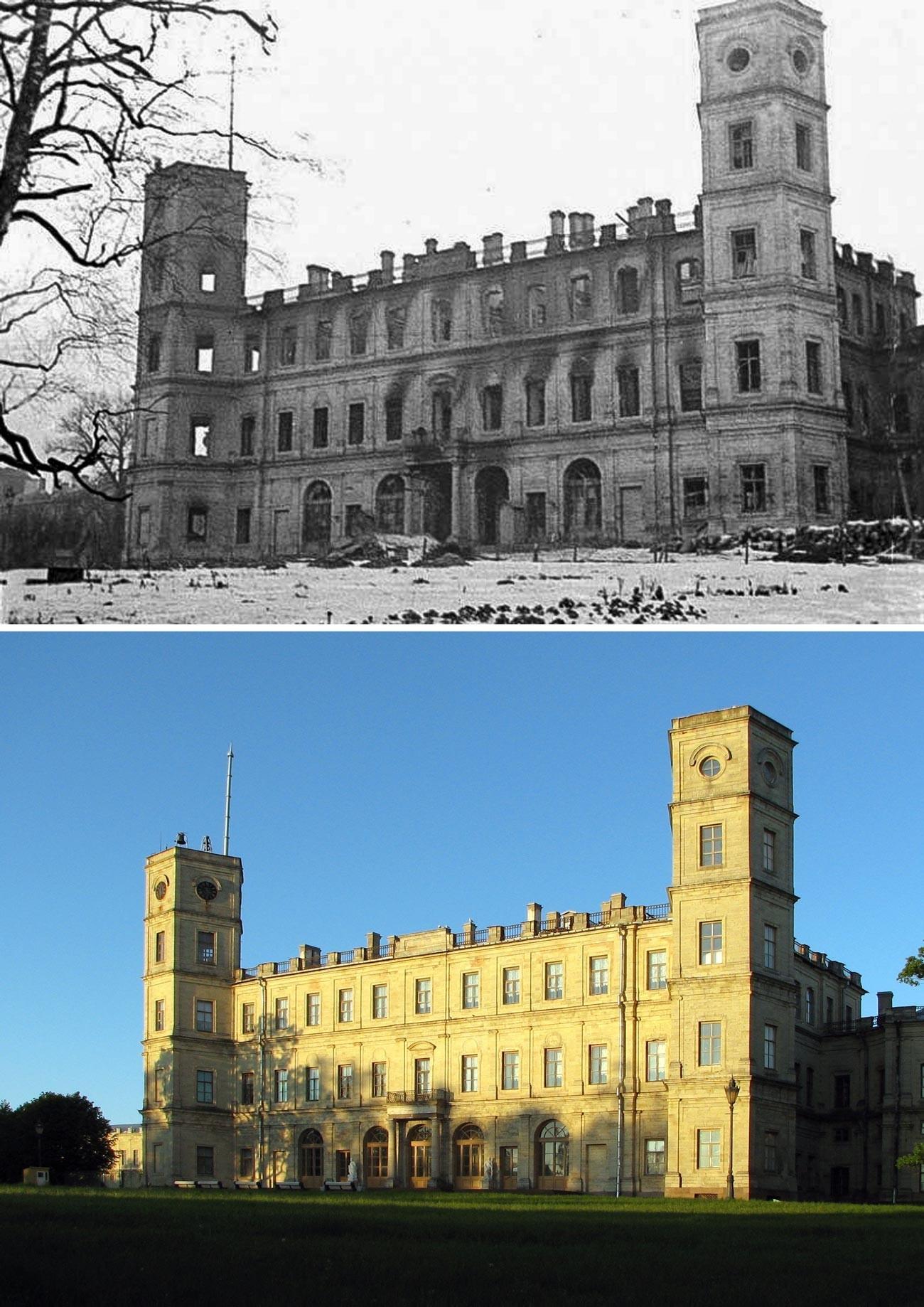 Fachada norte do palácio em 1944 e agora