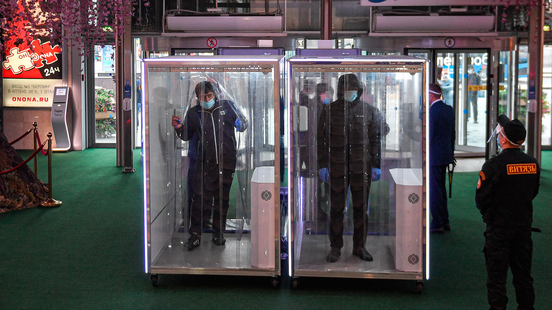 Disinfection cabins for customers.