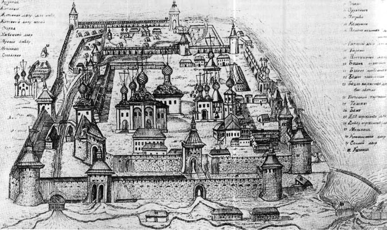 Кирилло-Белозерский монастырь на русской гравюре