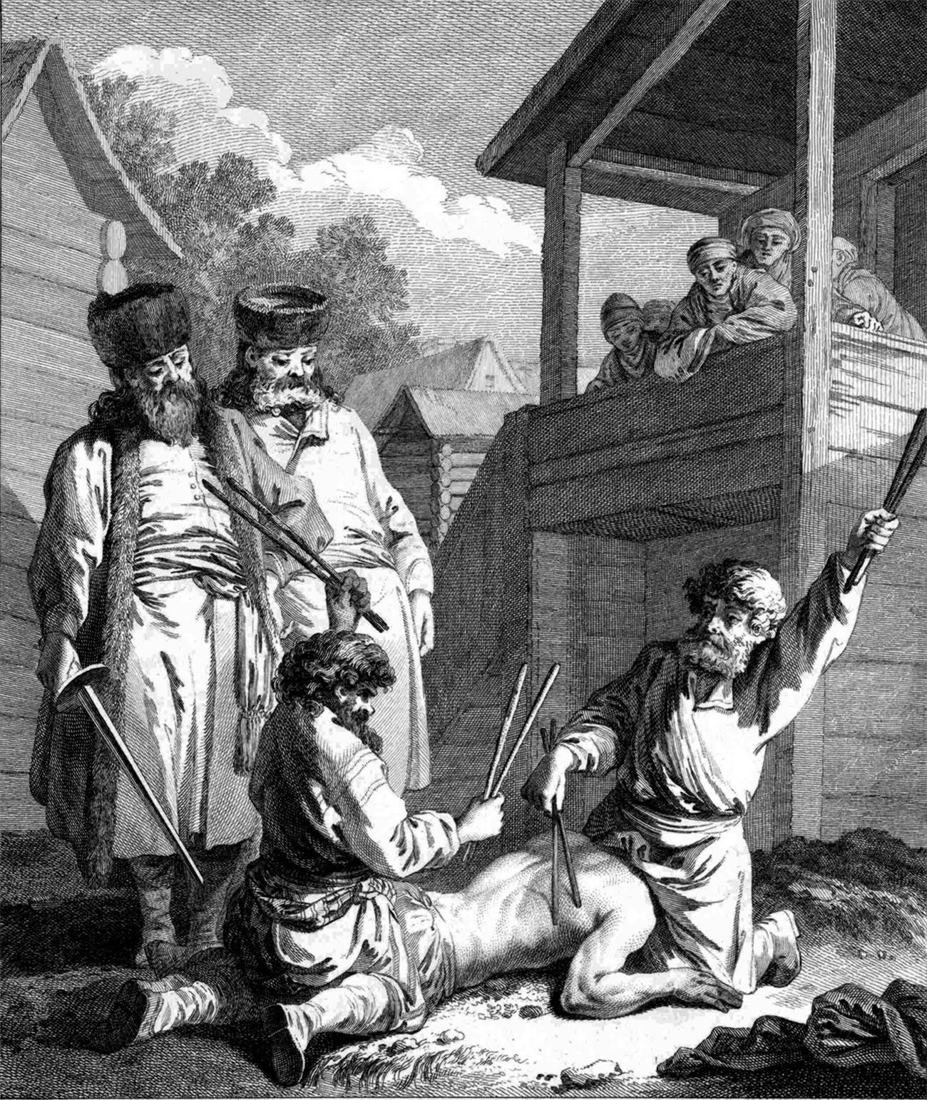 Наказание батогами.