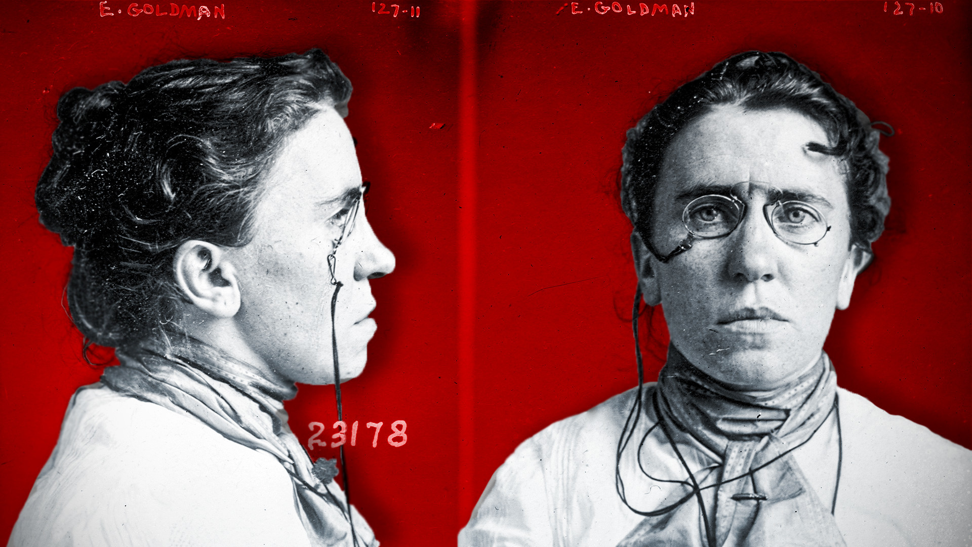 Mug shot taken in 1901 when Goldman was implicated in the assassination of President McKinley.