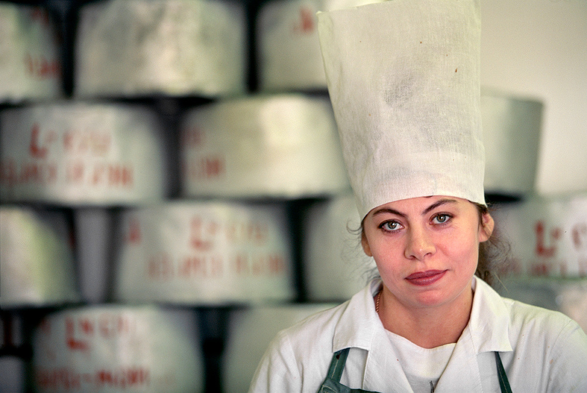 Worker at a caviar factory.