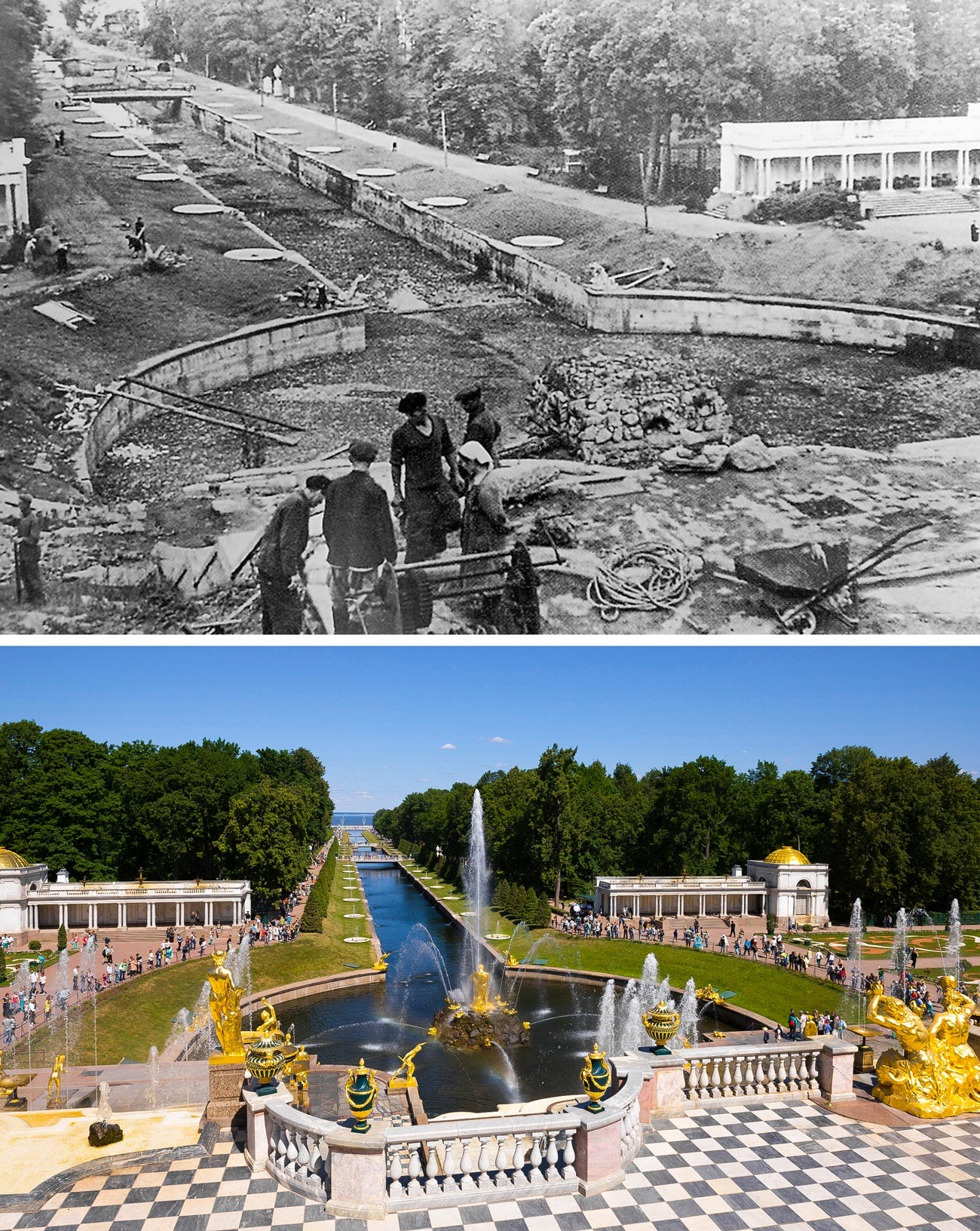 The Grand Cascade fountain in 1946 and now