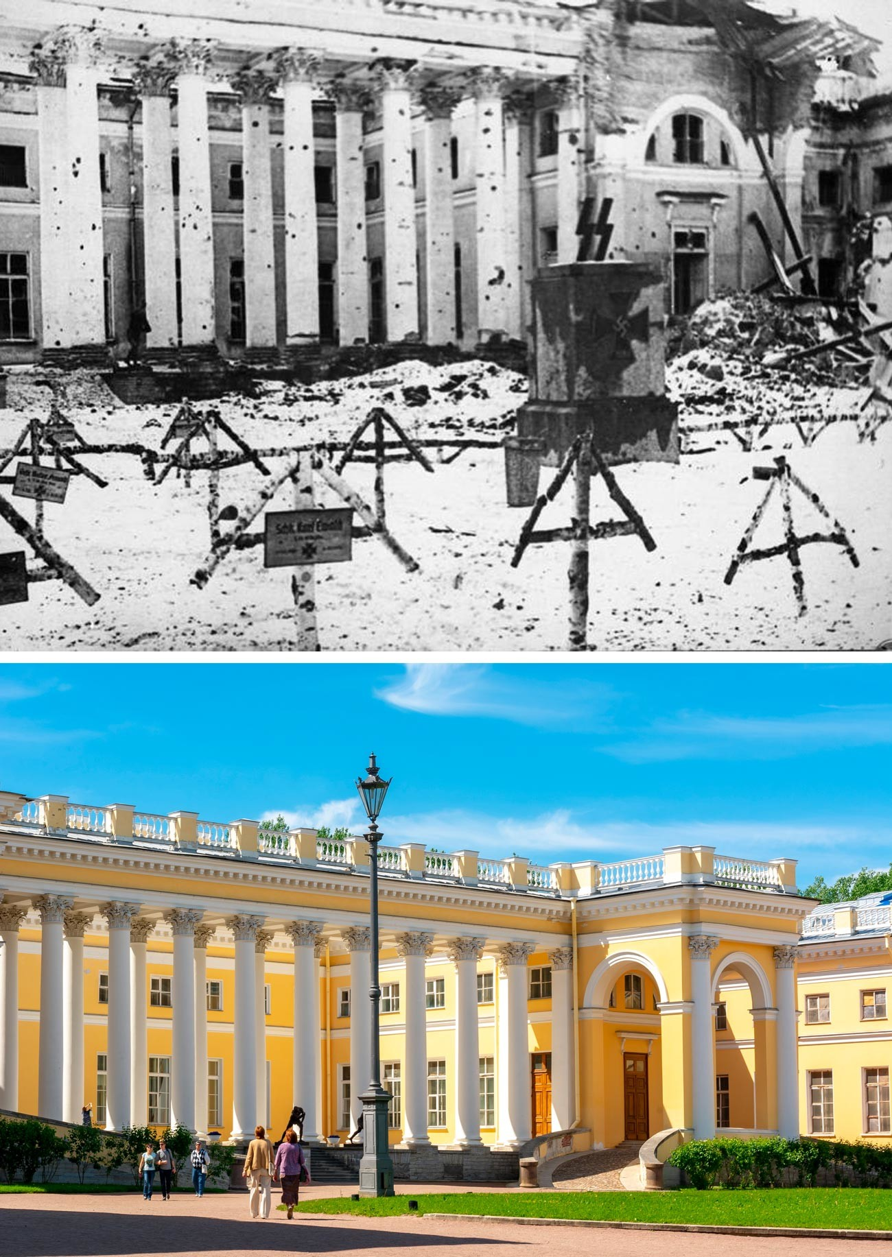 The grounds in front of the Alexander Palace in Tsarskoe Selo were used by the Germans as a cemetery