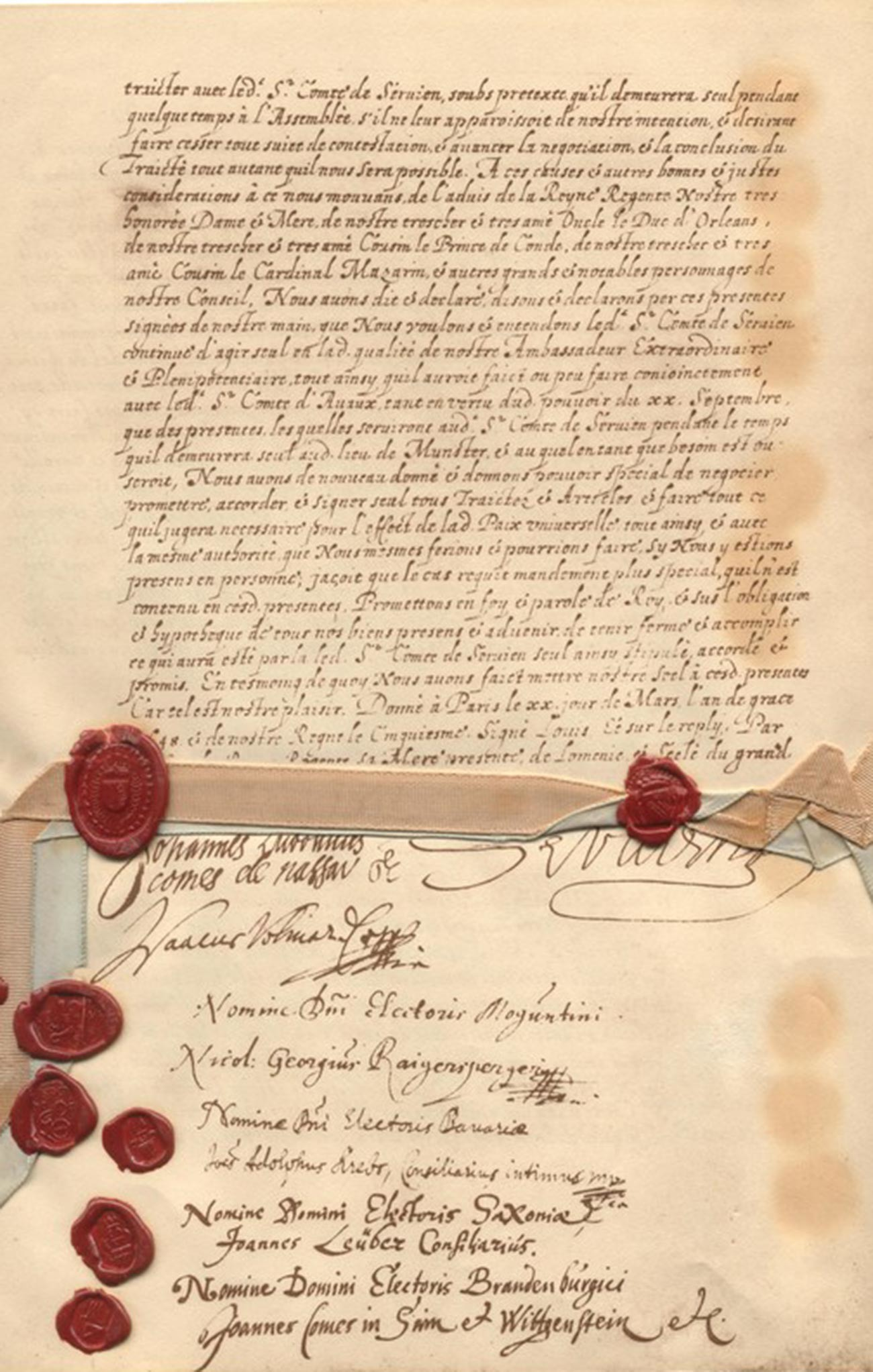 The last page of the Peace of Westphalia Treaties, written in French