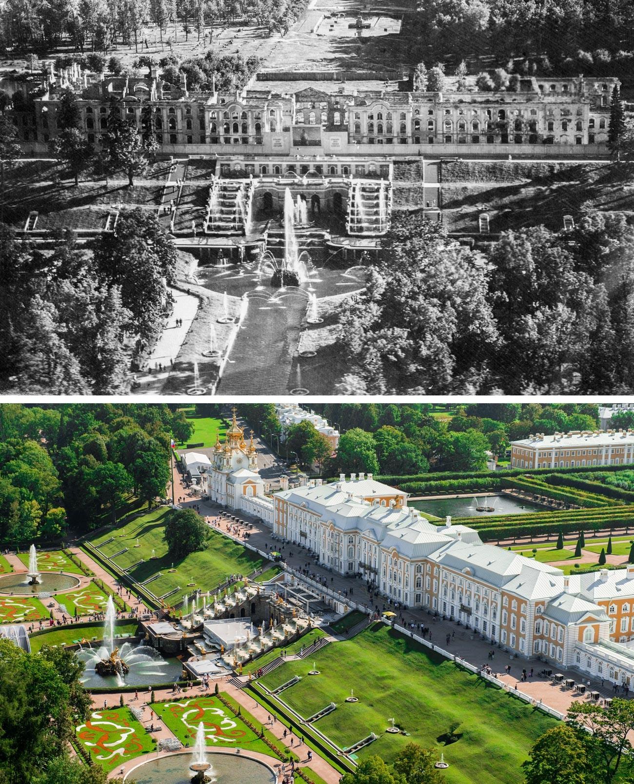 Pemandangan Kebun Atas, Istana Utama, dan air mancur Riam Utama pada 1944 dan sekarang.