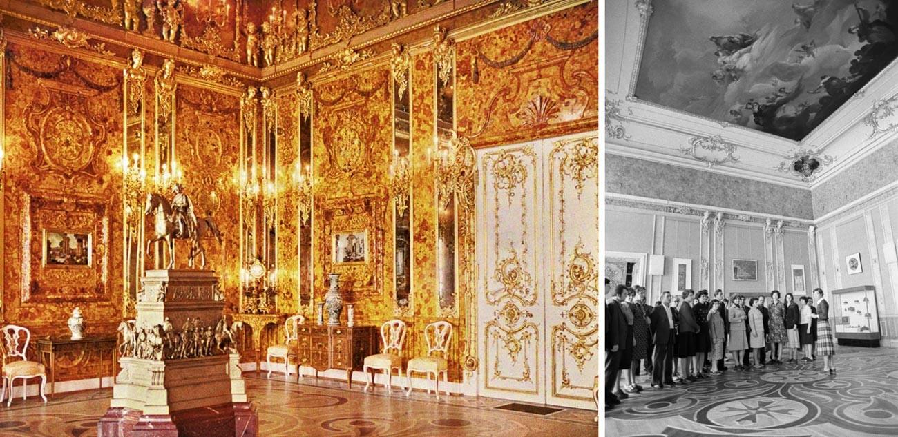 Ruang Amber sebelum Perang dan pada 1980-an.