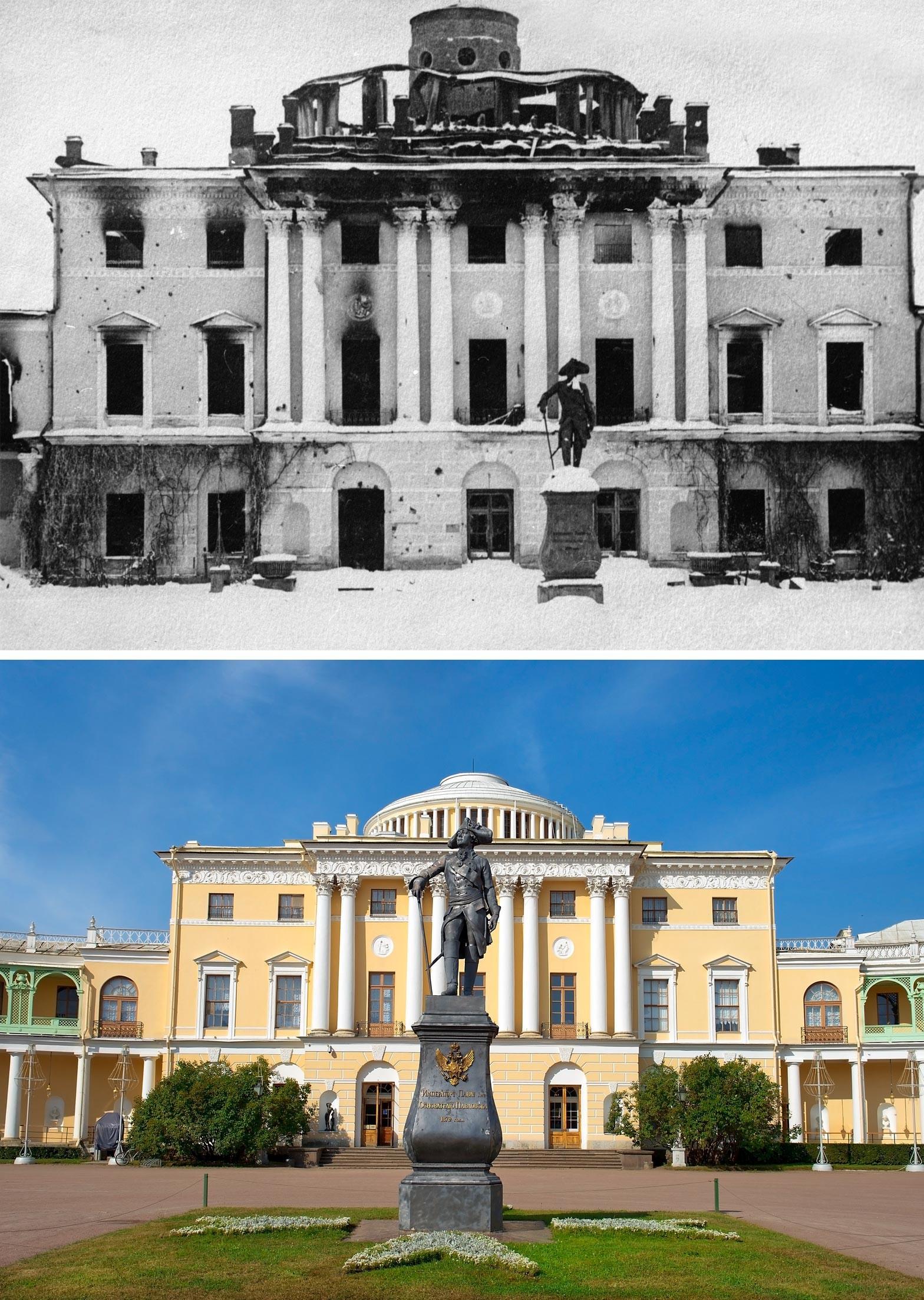 Istana Pavlovsk pada 1944 dan sekarang.