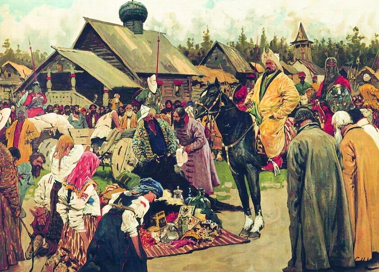 Les baskaks recevant le tribut, toile de Sergueï Ivanov