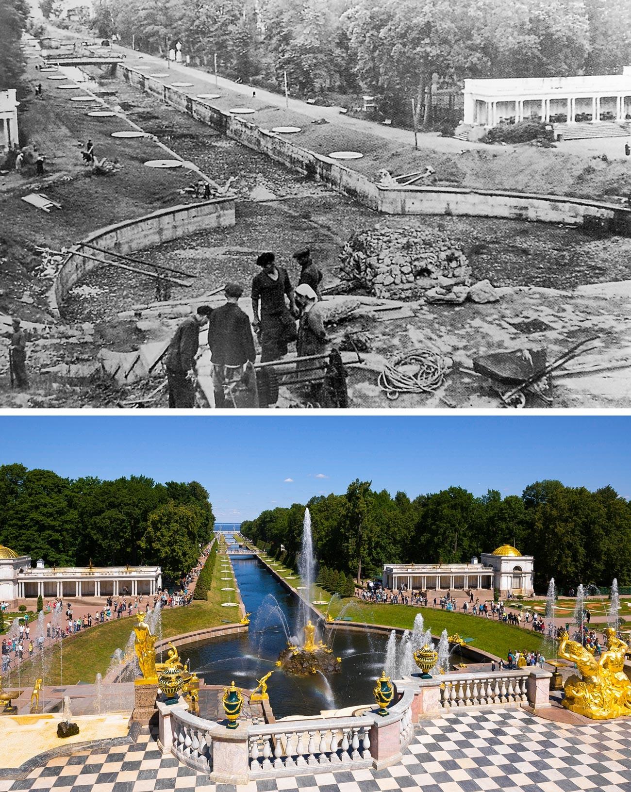 Фонтан Большой каскад в 1946 и сейчас