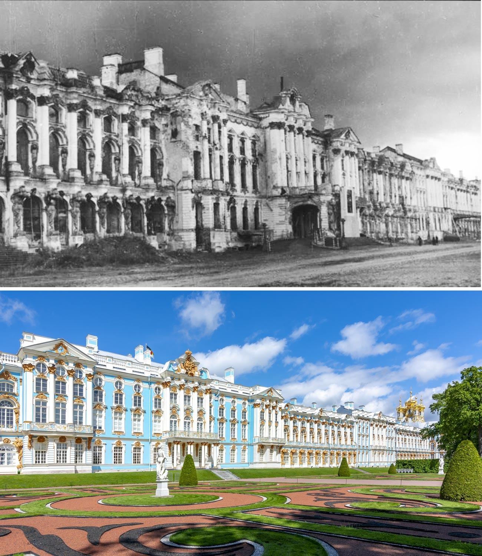 Екатерининский дворец после войны и сейчас