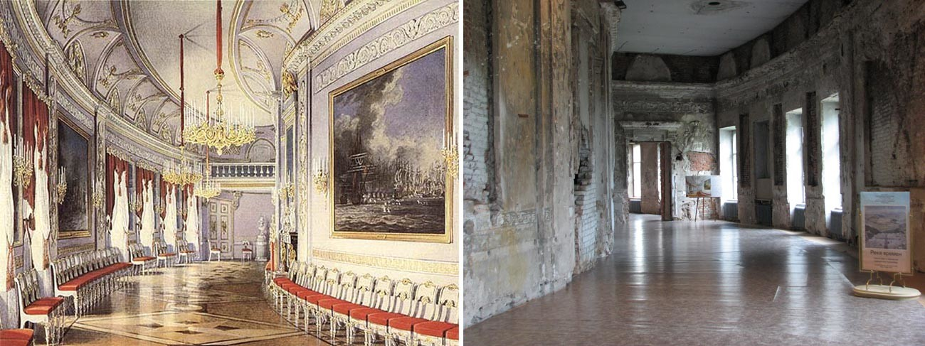 Чесменская галерея (слева - Акварель 1877 года, справа - состояние на 2008 год).