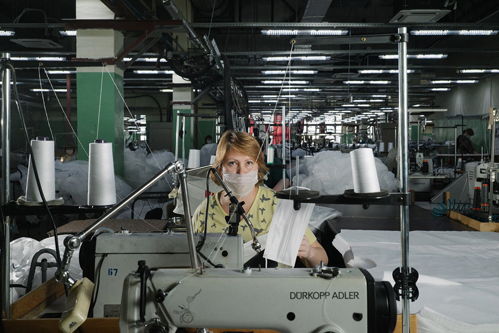 A sewing factory making face masks