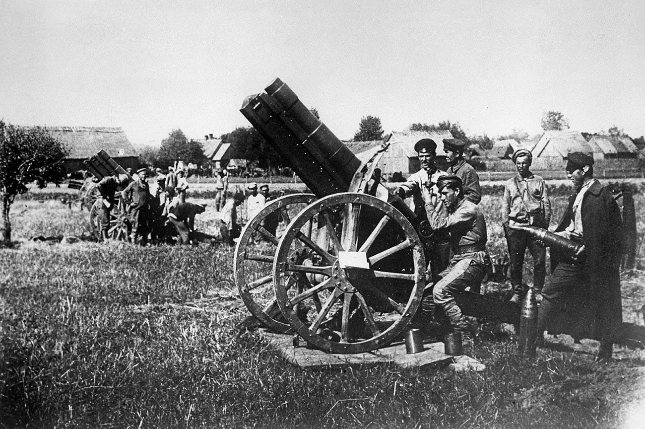 Soviet artillery in Ukraine.