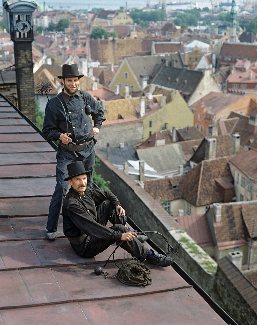 Chimney sweepers on a roof in Tallinn, 1984.