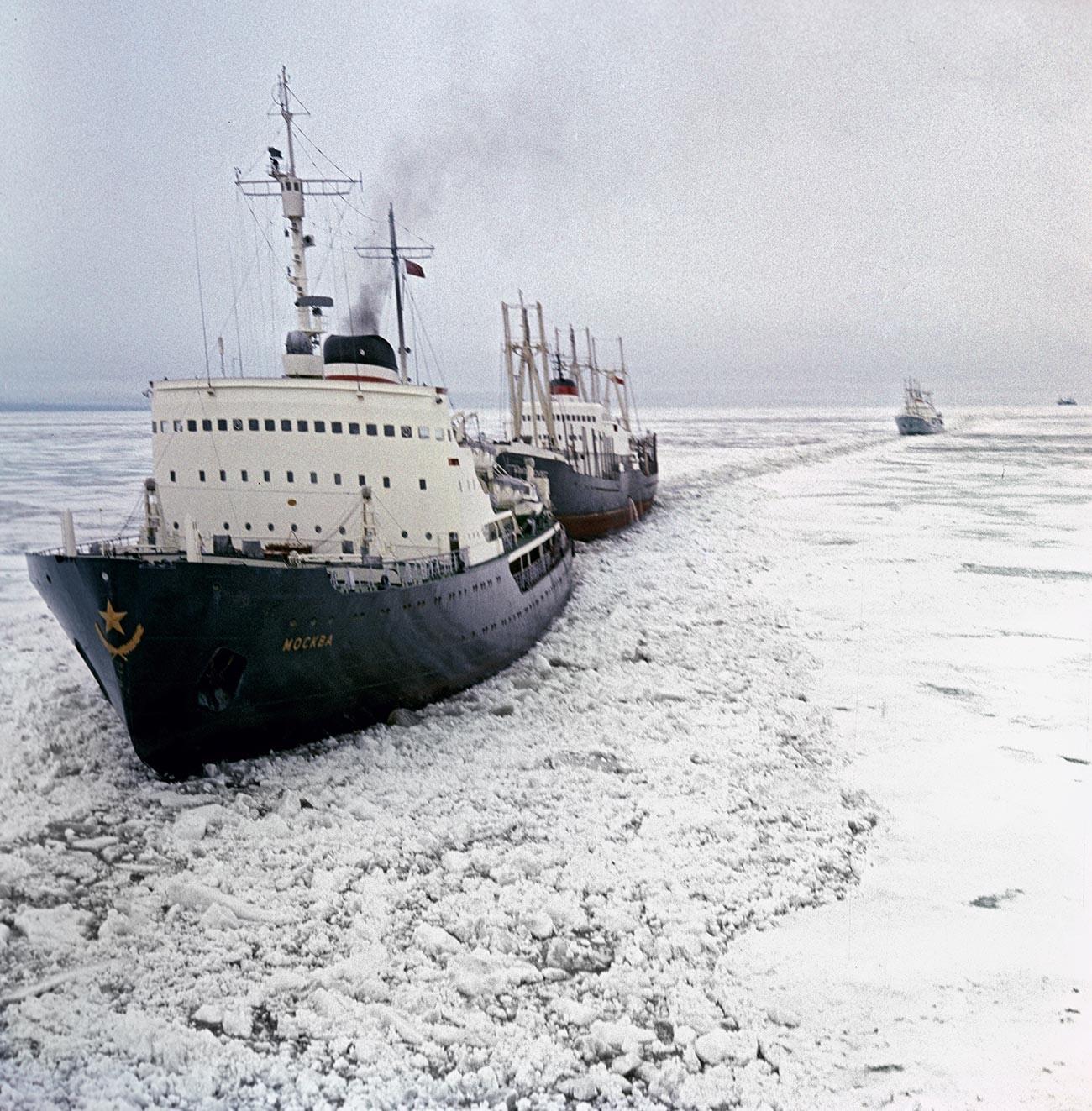 """Ледоломац """"Москва"""" води караван бродова кроз арктички лед."""