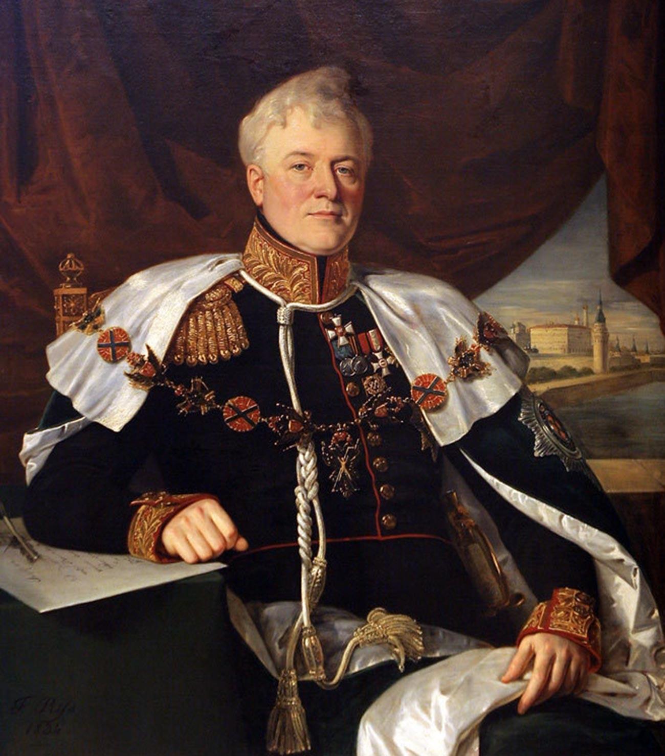 O príncipe Dmitri Golitsin (1771-1844), governador geral de Moscou. Retrato de François Nicholas Riss (1804-1886).