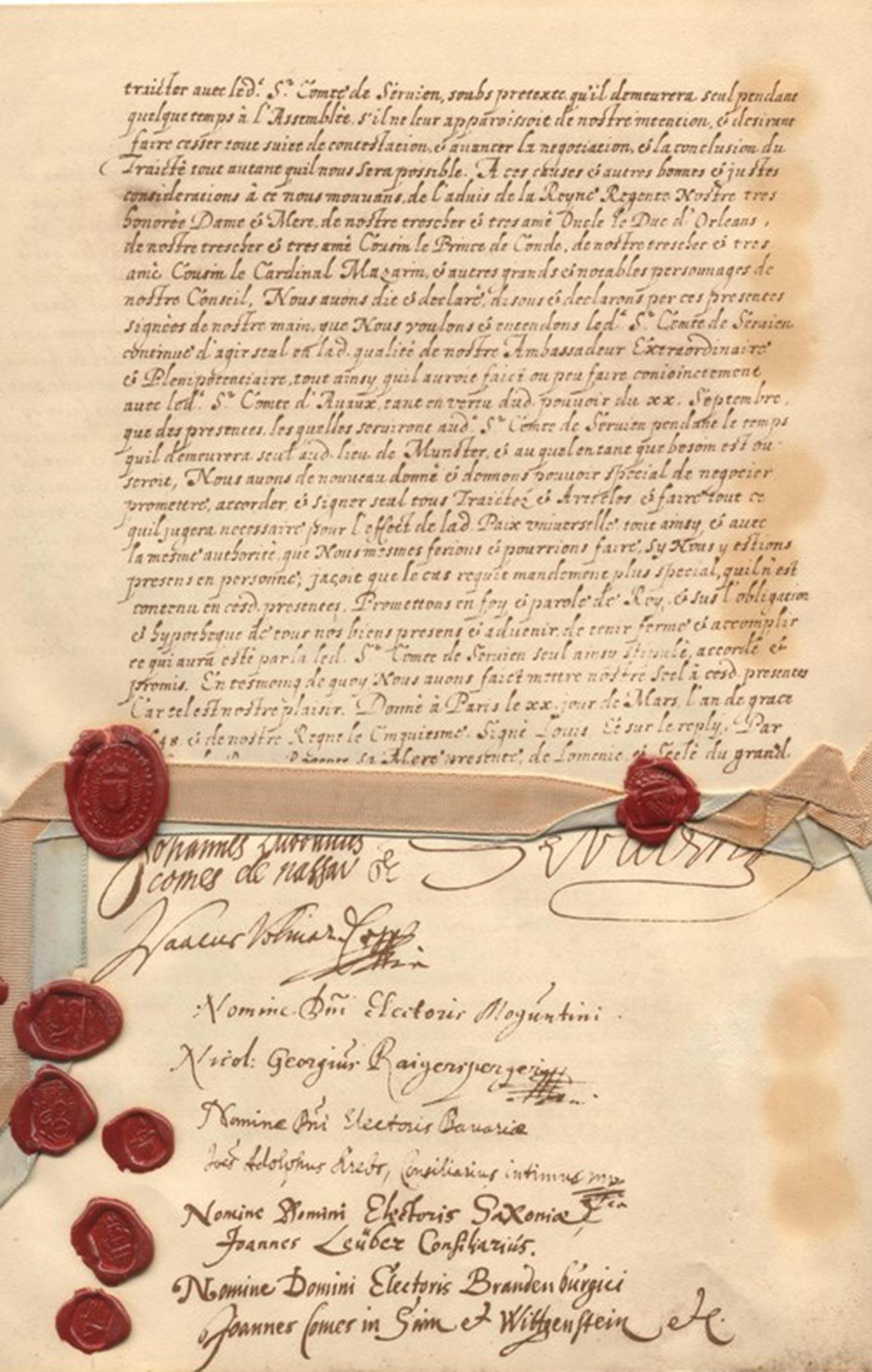 A última página dos Tratados da Paz de Vestfália, escrita em francês.