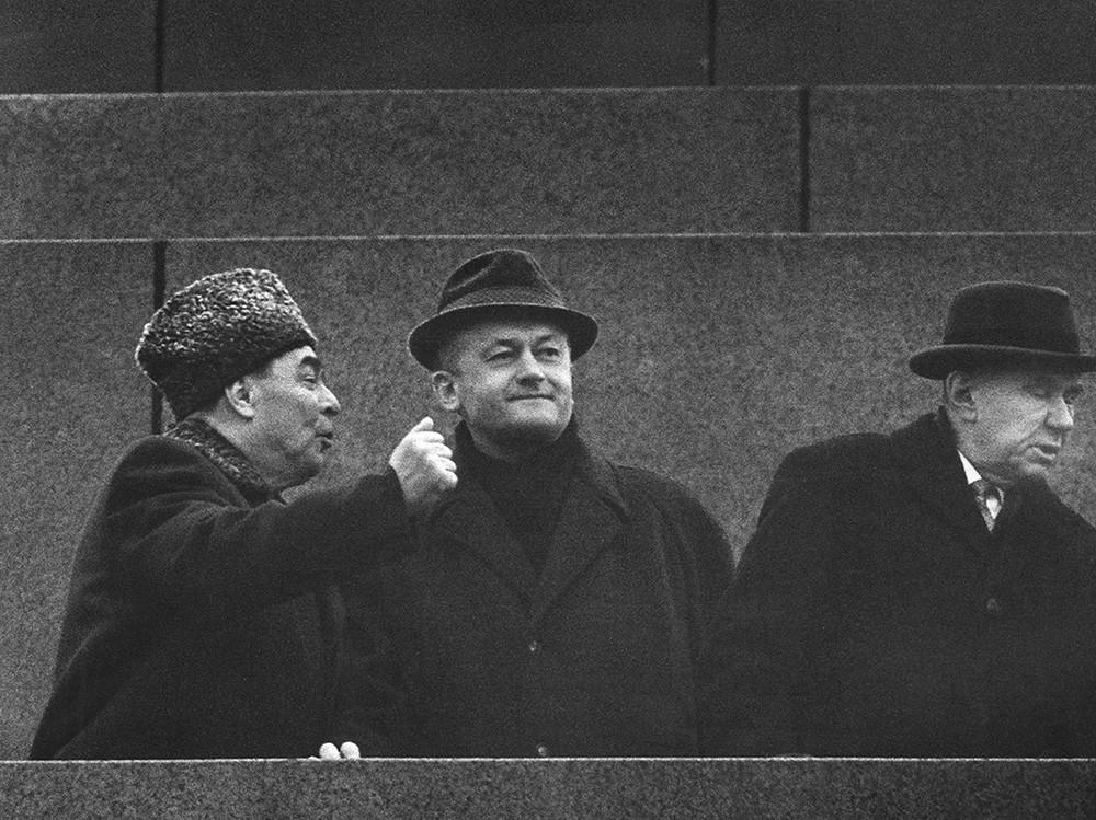 Leonid Brejnev, Alois Indra et Vasiľ Biľak (de gauche à droite)