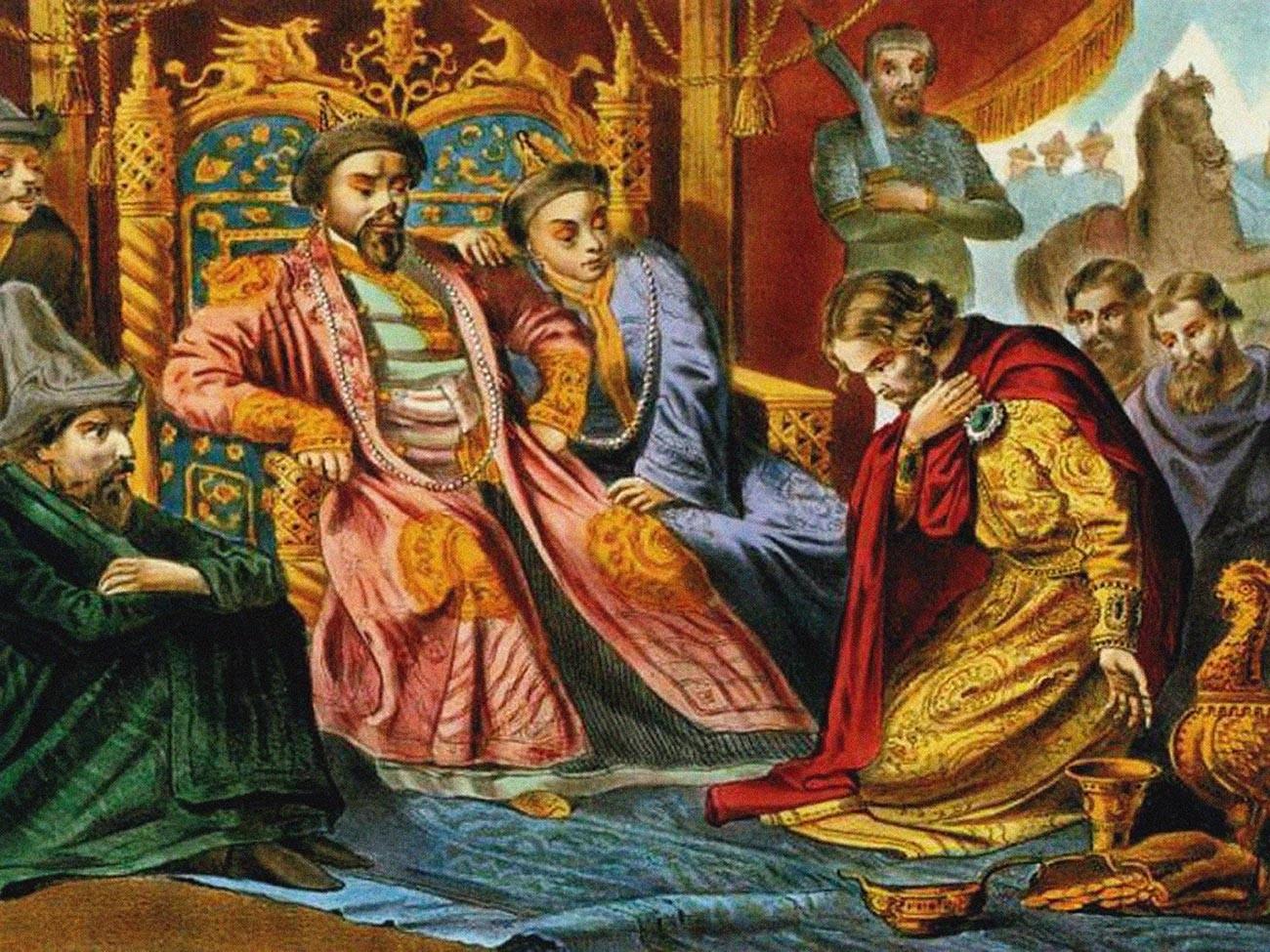 O Príncipe Aleksandr Niévski implorando a Batu Cã que tivesse misericórdia quanto à Rússia, em pintura do final do século 19. Obra encontrada na coleção da Biblioteca Estatal Russa, em Moscou.