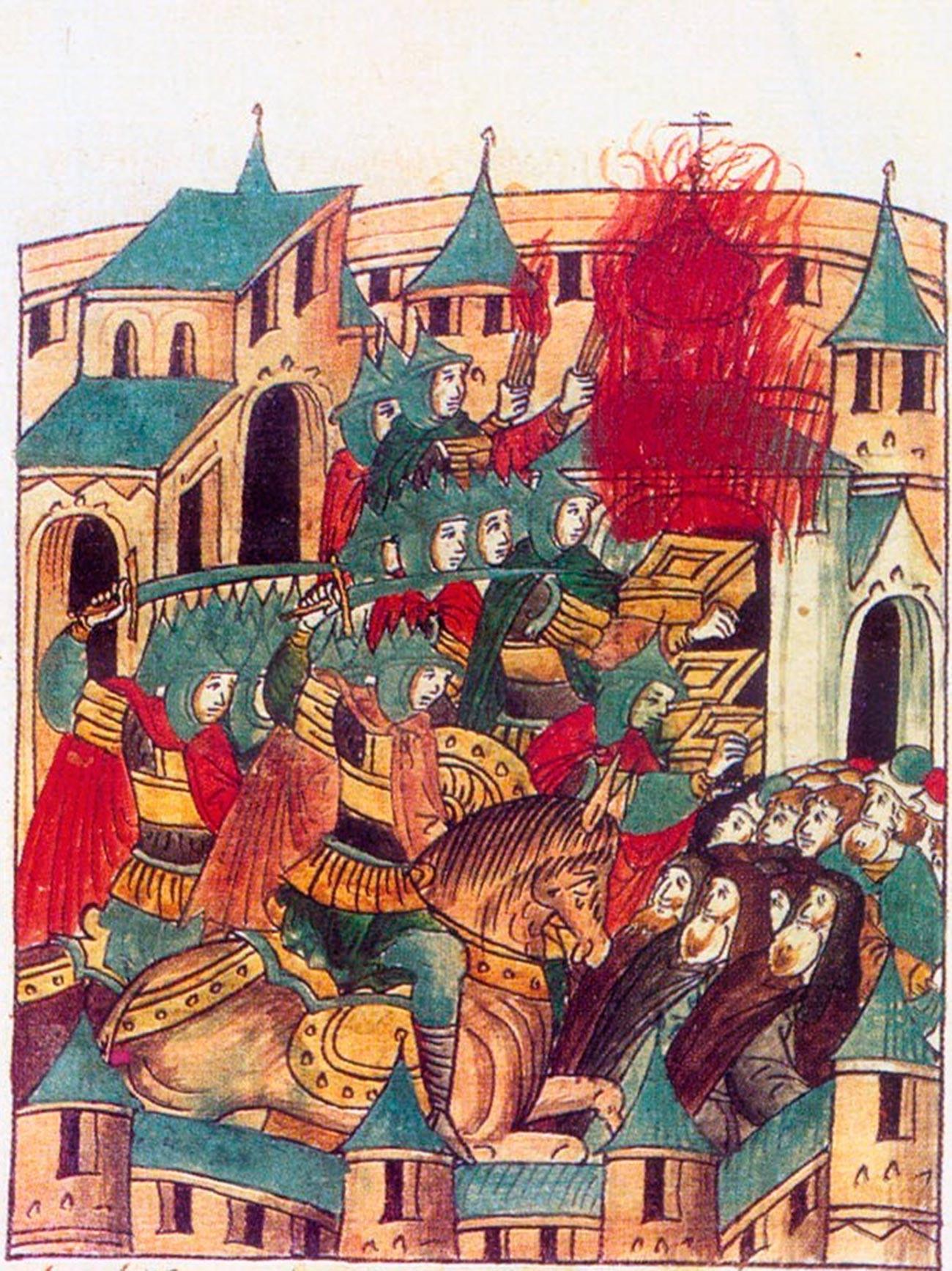 O saque de Súzdal por Batu Cã, em fevereiro de 1238, na invasão mongol da Rússia. Miniatura retirada de crônica do século 16.