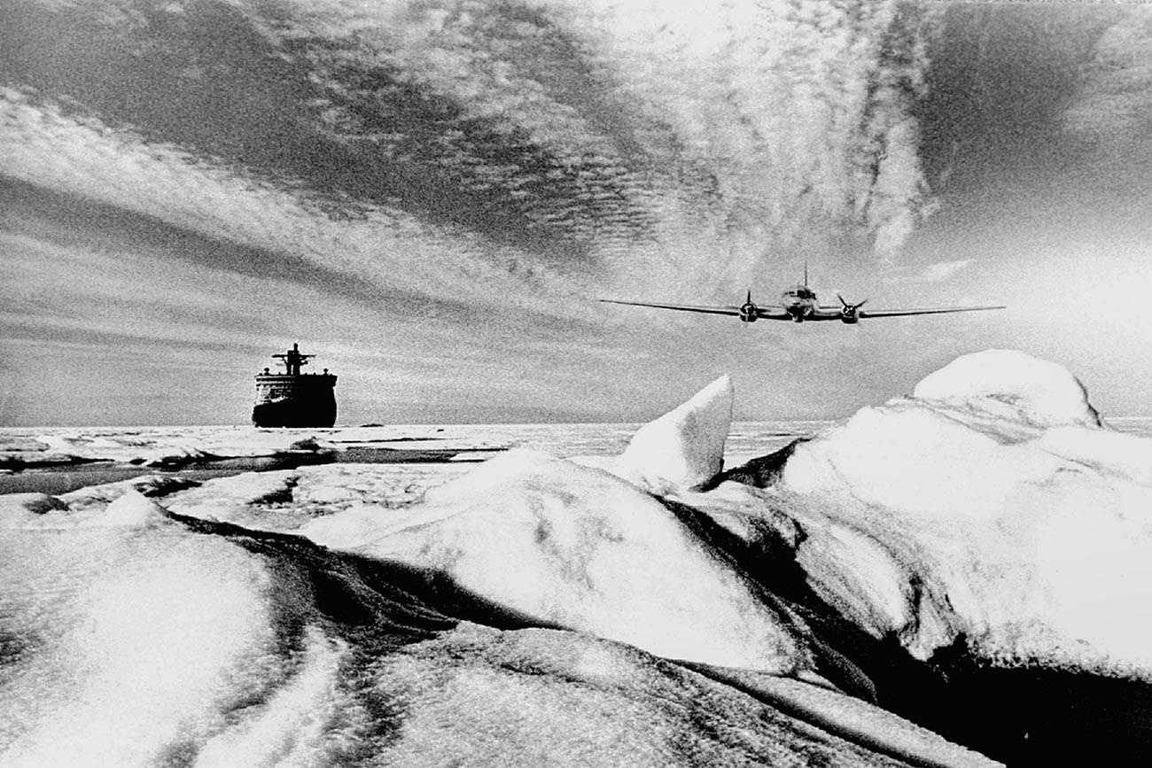 An atomic icebreaker in Arctic.