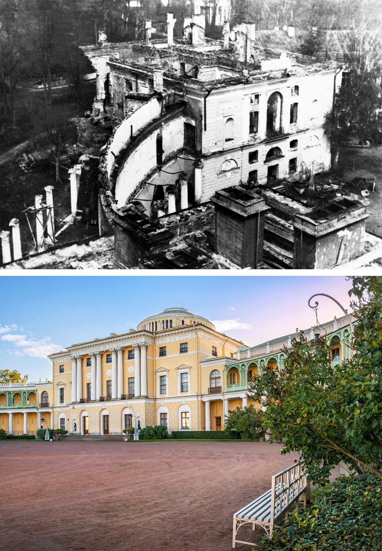 Pavlovski dvorec leta 1944 in danes