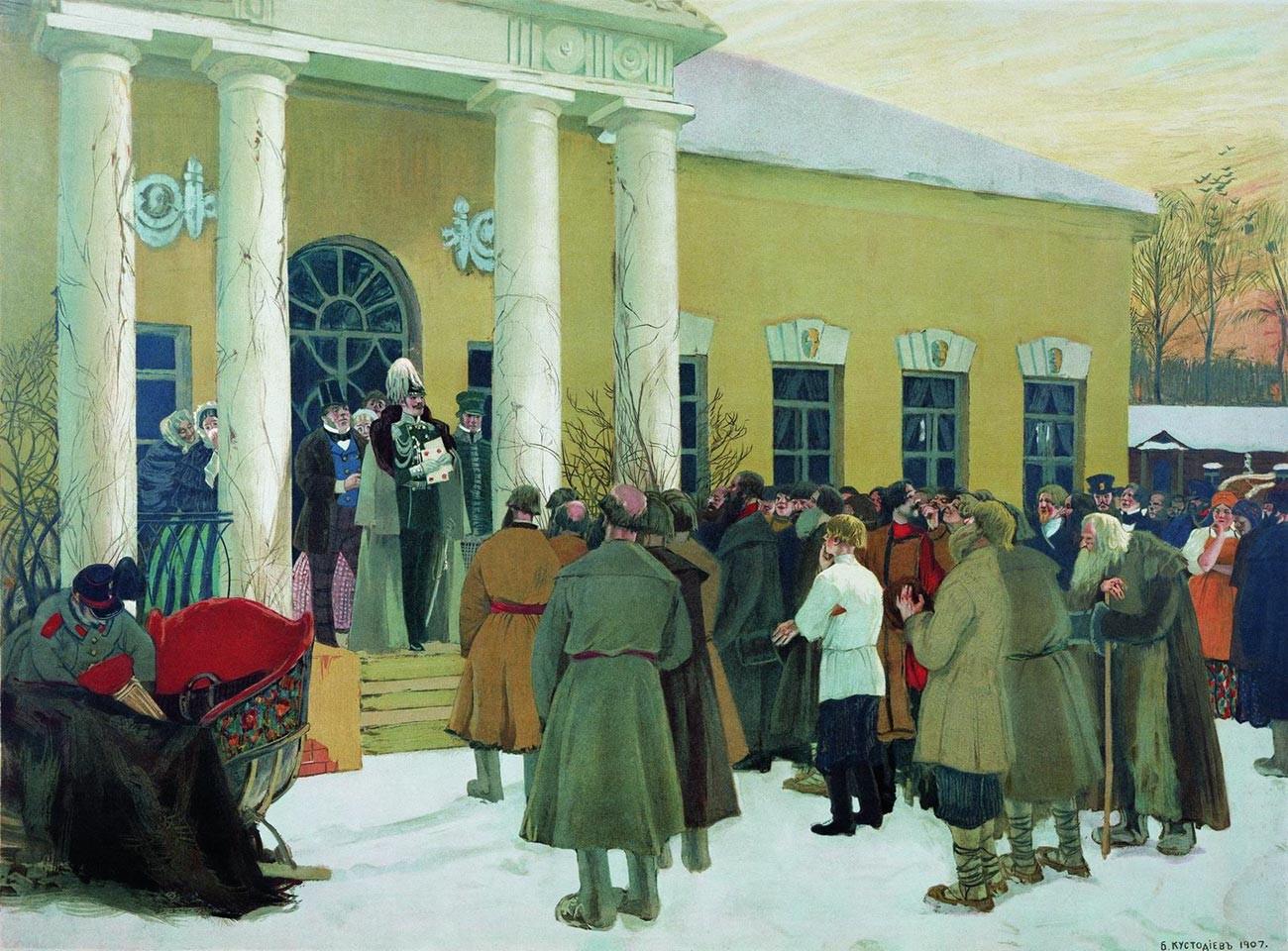 Boris Kustodijev, Branje manifesta (Osvoboditev kmetov)
